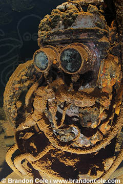 RJ41952. Brandon Cole underwater photo of R2D2 machinery in famous shipwreck, stock picture available for licensing