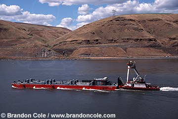 mo12. Salmon Barge on Snake River WA transporting juvenile salmon bypassing dams. Most are hatchery raised.
